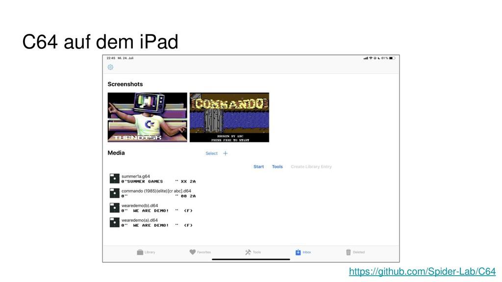C64 auf dem iPad https://github.com/Spider-Lab/...