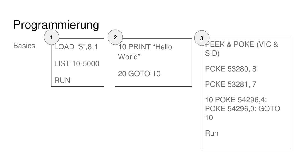 "Programmierung Basics 10 PRINT ""Hello World"" 20..."