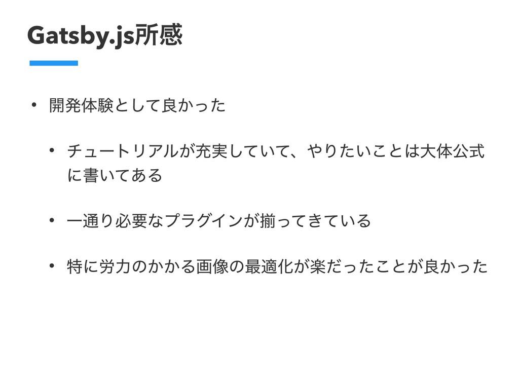 Gatsby.jsॴײ • ։ൃମݧͱͯ͠ྑ͔ͬͨ • νϡʔτϦΞϧ͕ॆ࣮͍ͯͯ͠ɺΓ͍ͨ...
