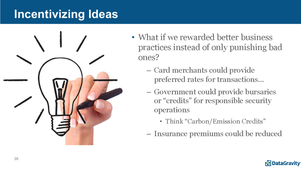 36 Incentivizing Ideas • What if we rewarded be...