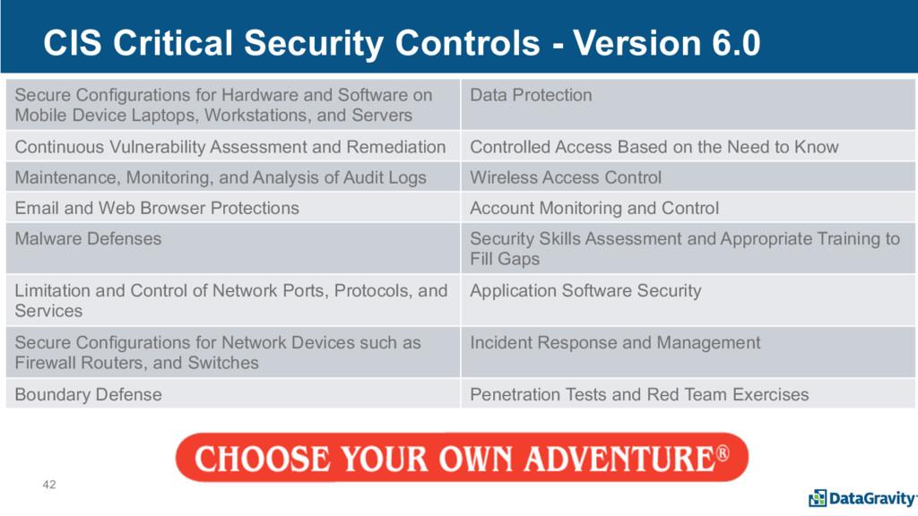 42 CIS Critical Security Controls - Version 6.0...