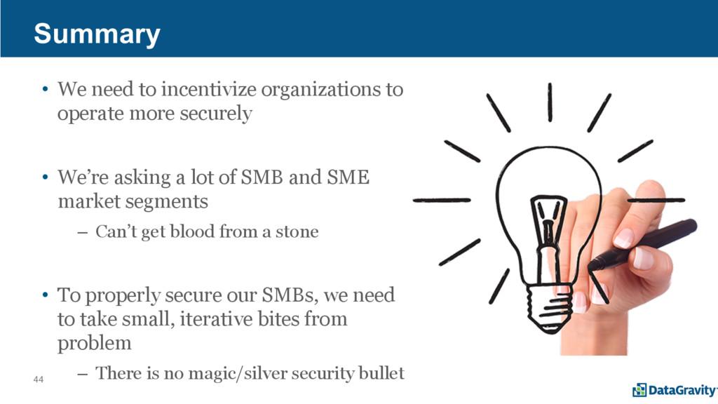 44 Summary • We need to incentivize organizatio...