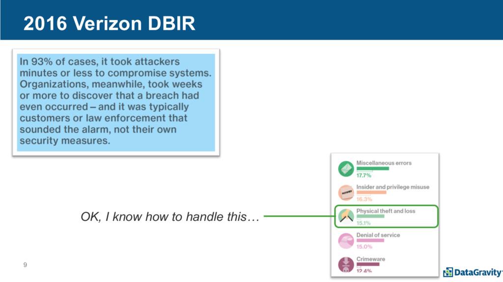 9 2016 Verizon DBIR OK, I know how to handle th...