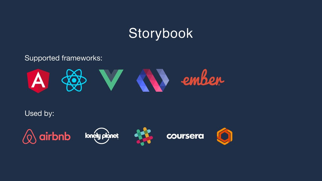 Storybook Supported frameworks: Used by: