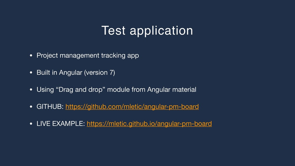 Test application • Project management tracking ...
