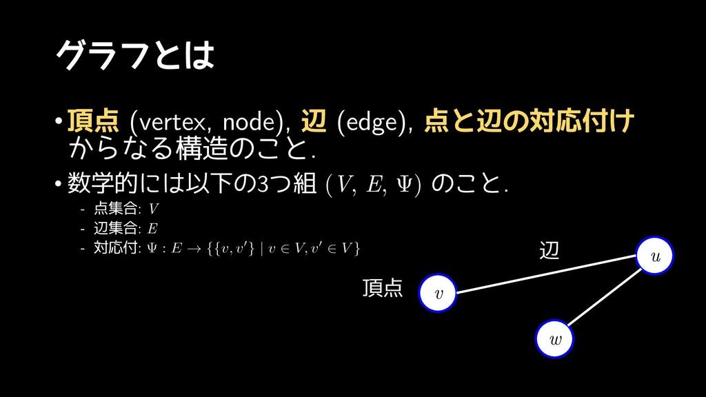 グラフとは •頂点 (vertex, node), 辺 (edge), 点と辺の対応付け から...