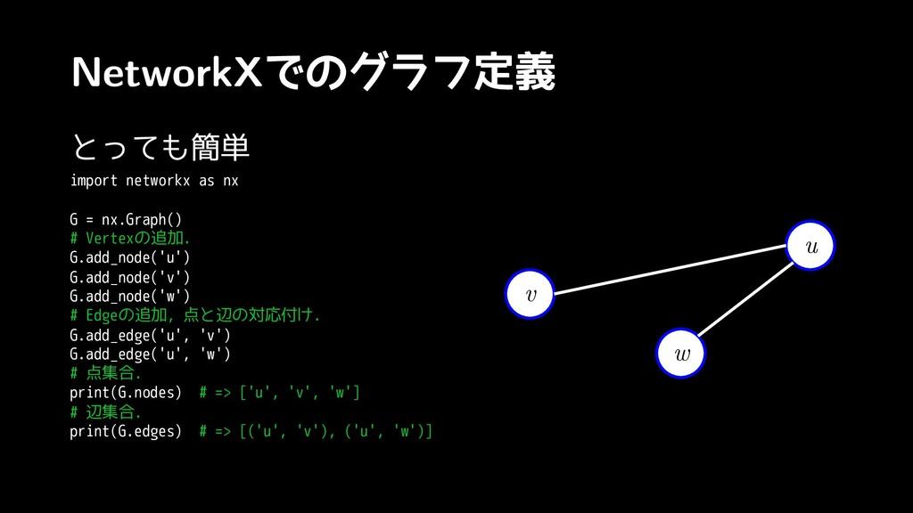 NetworkXでのグラフ定義 とっても簡単 import networkx as nx G ...