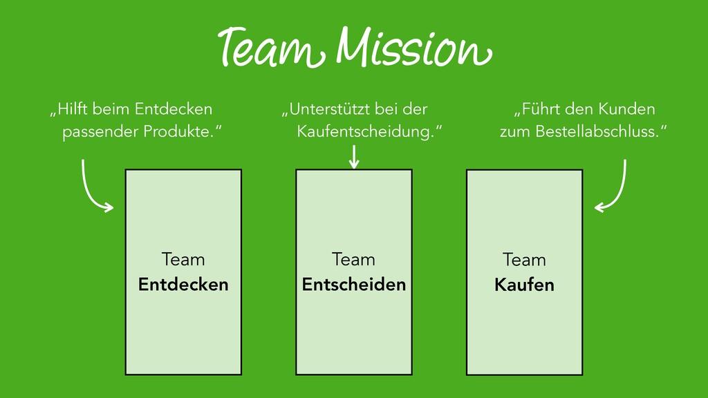 """Team Mission """"Hilft beim Entdecken passender Pr..."""