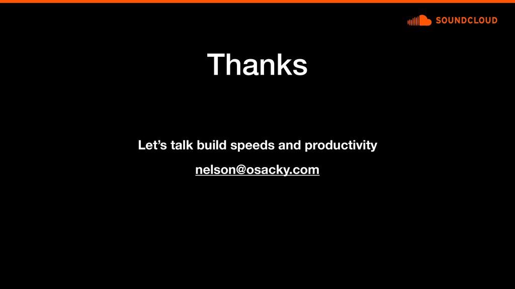 Thanks nelson@osacky.com Let's talk build speed...