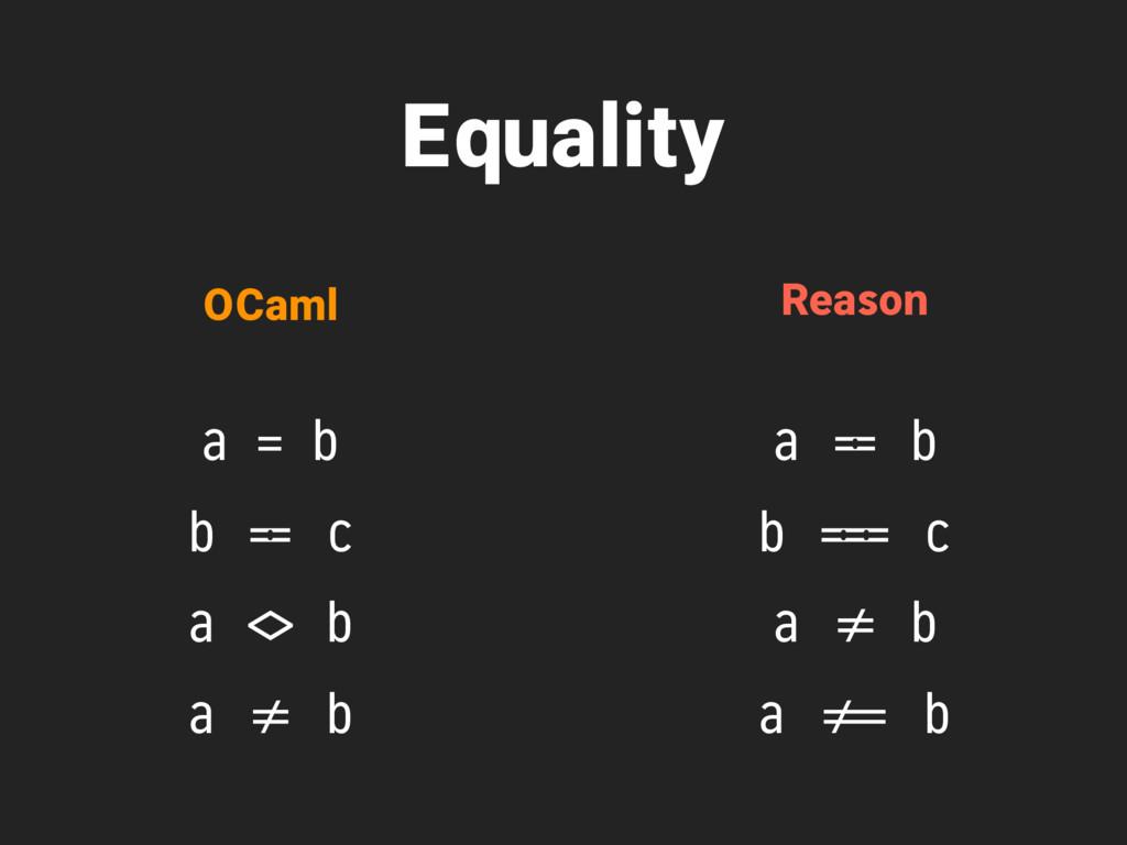 Equality a = b b '== c a #<> b a *!= b OCaml Re...