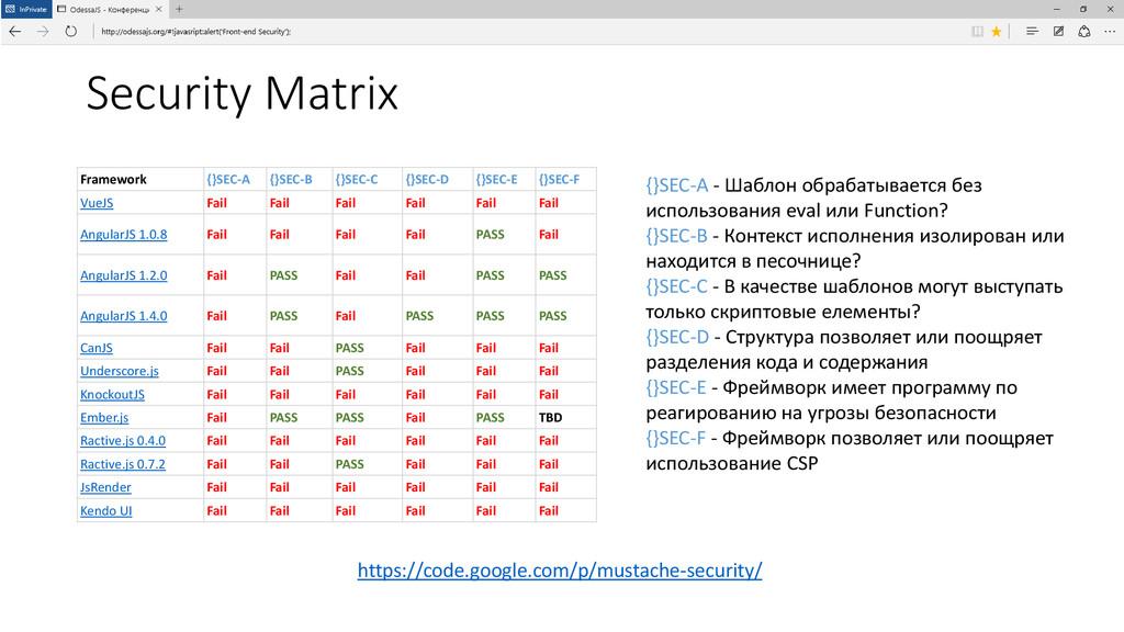 Security Matrix Framework {}SEC-A {}SEC-B {}SEC...