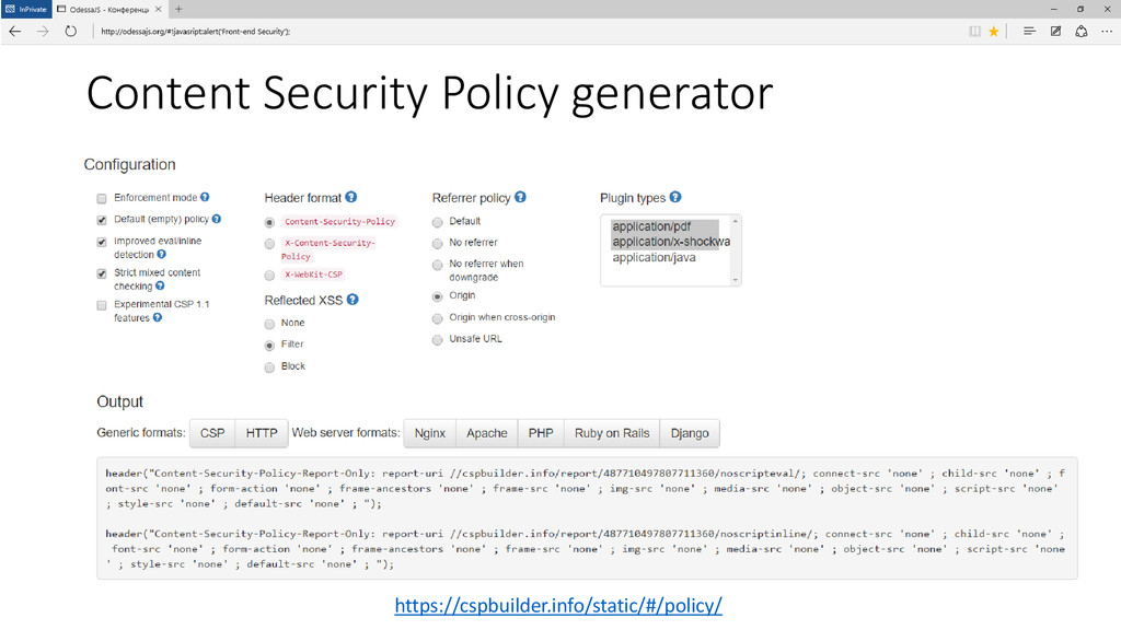 Content Security Policy generator https://cspbu...