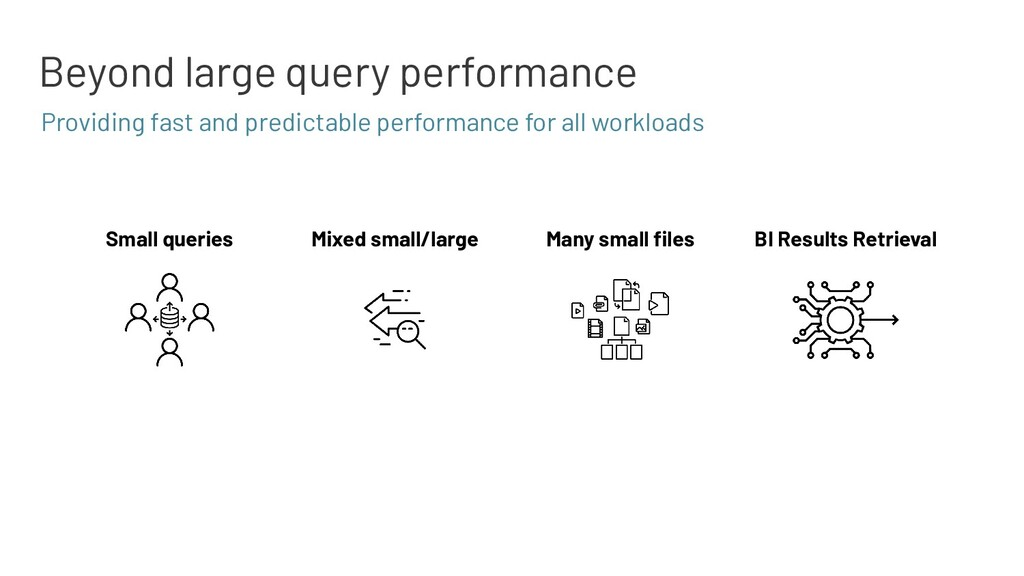 Beyond large query performance Many small files ...
