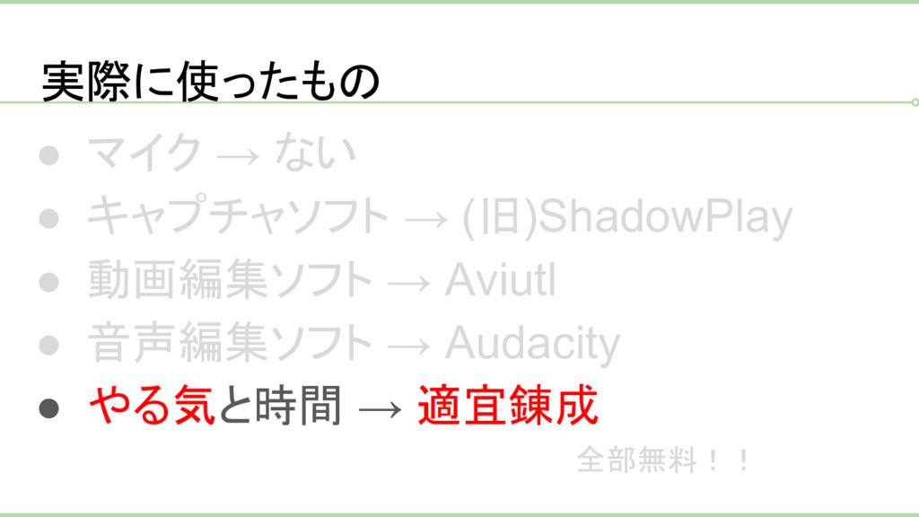 実際に使ったもの ● マイク → ない ● キャプチャソフト → (旧)ShadowPlay ...
