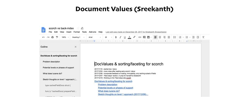 Document Values (Sreekanth)