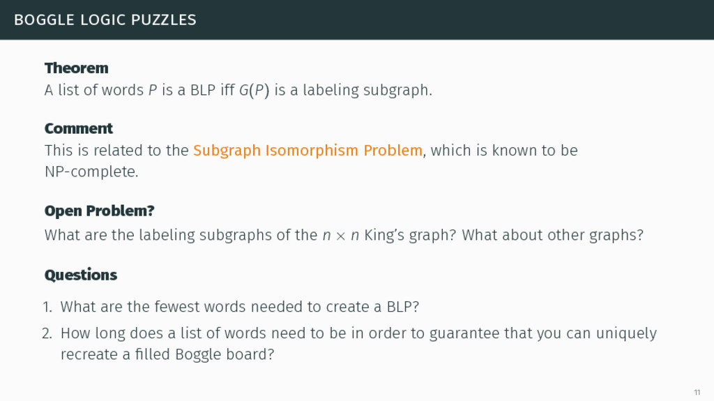 boggle logic puzzles Theorem A list of words P ...