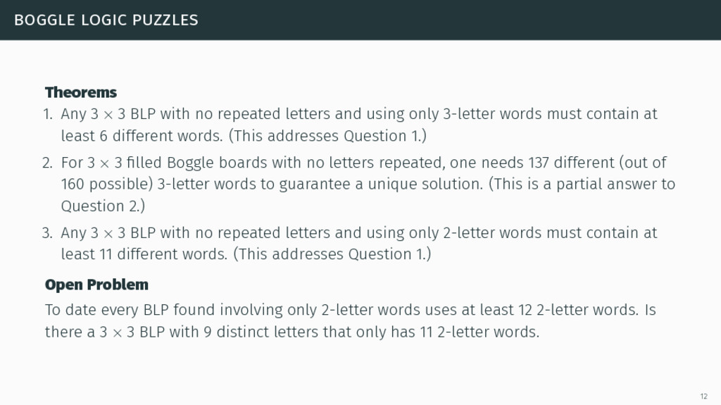 boggle logic puzzles Theorems 1. Any 3 × 3 BLP ...