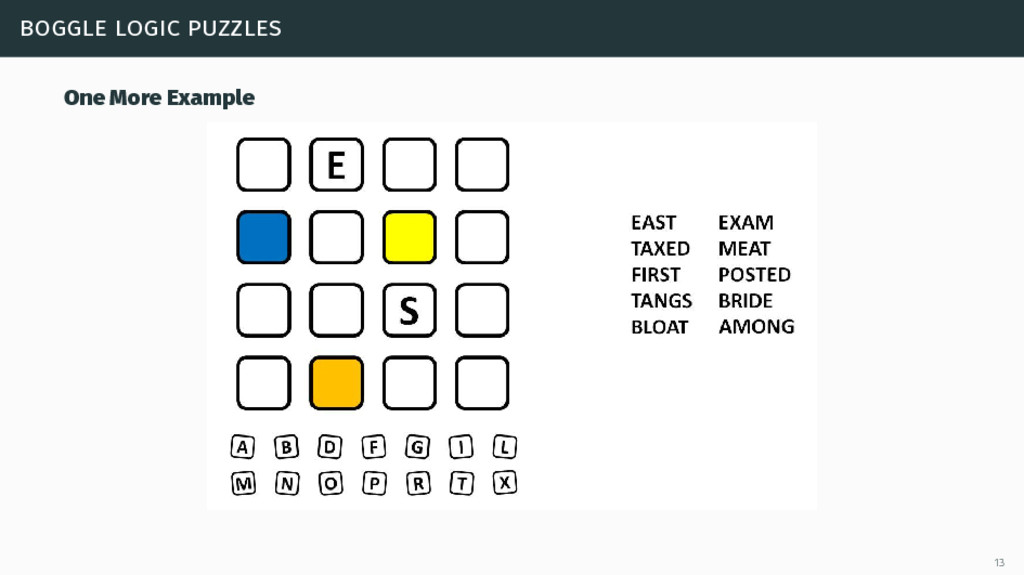 boggle logic puzzles One More Example 13