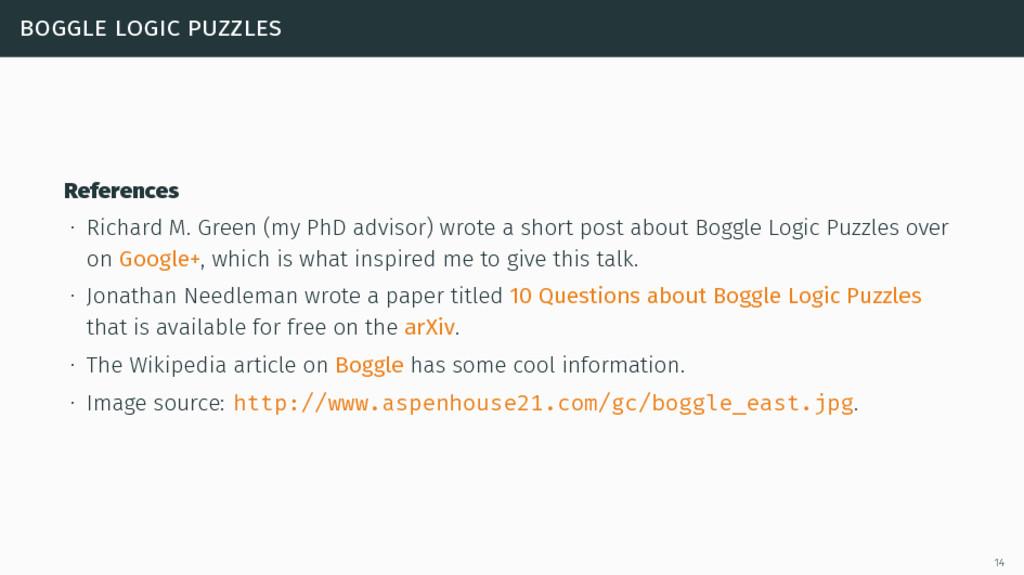 boggle logic puzzles References ∙ Richard M. Gr...