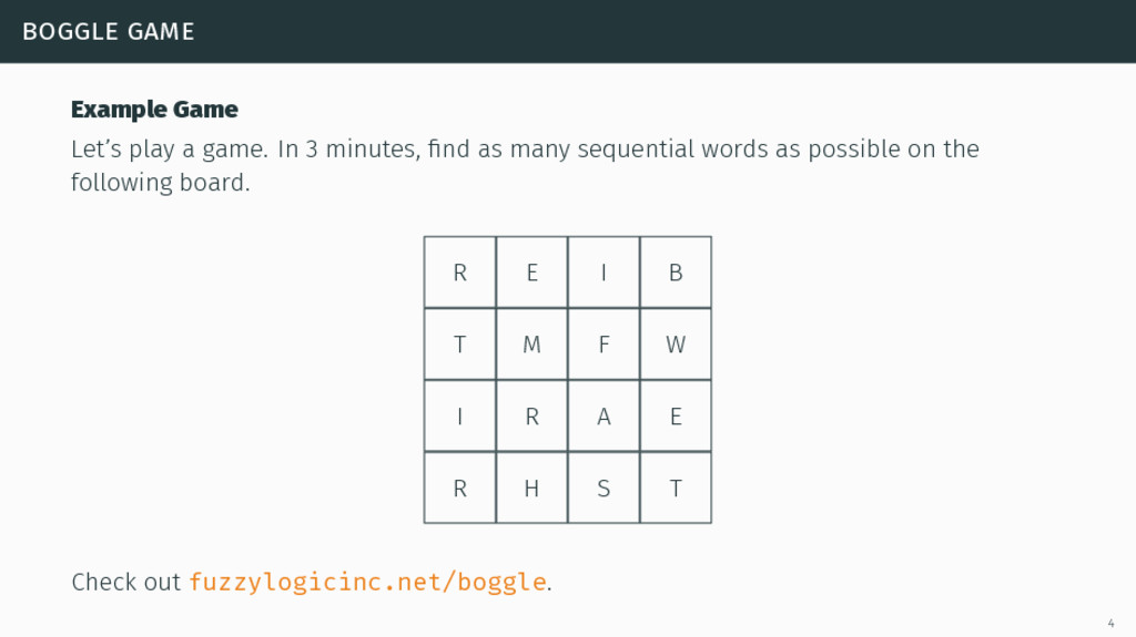 boggle game Example Game Let's play a game. In ...