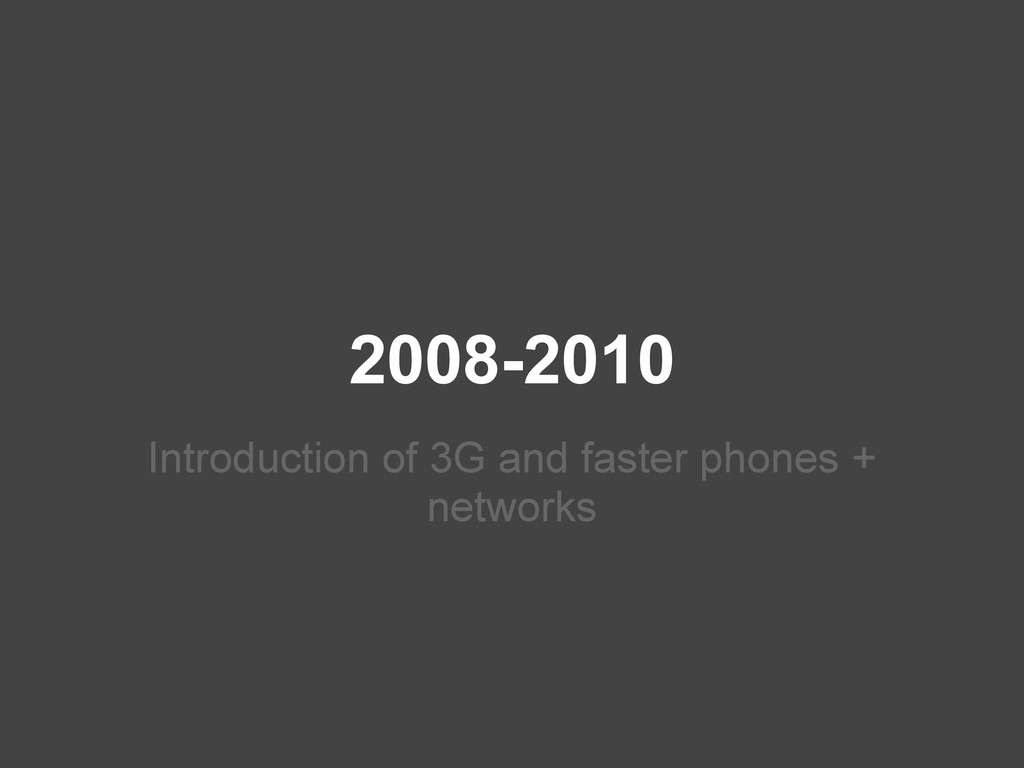 2008-2010 Introduction of 3G and faster phones ...