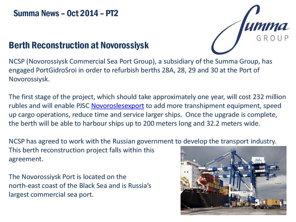 Berth Reconstruction at Novorossiysk Summa News...