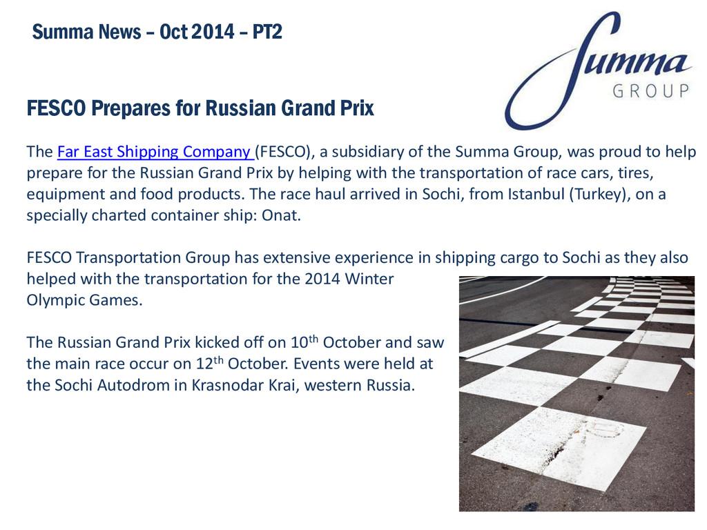 FESCO Prepares for Russian Grand Prix Summa New...