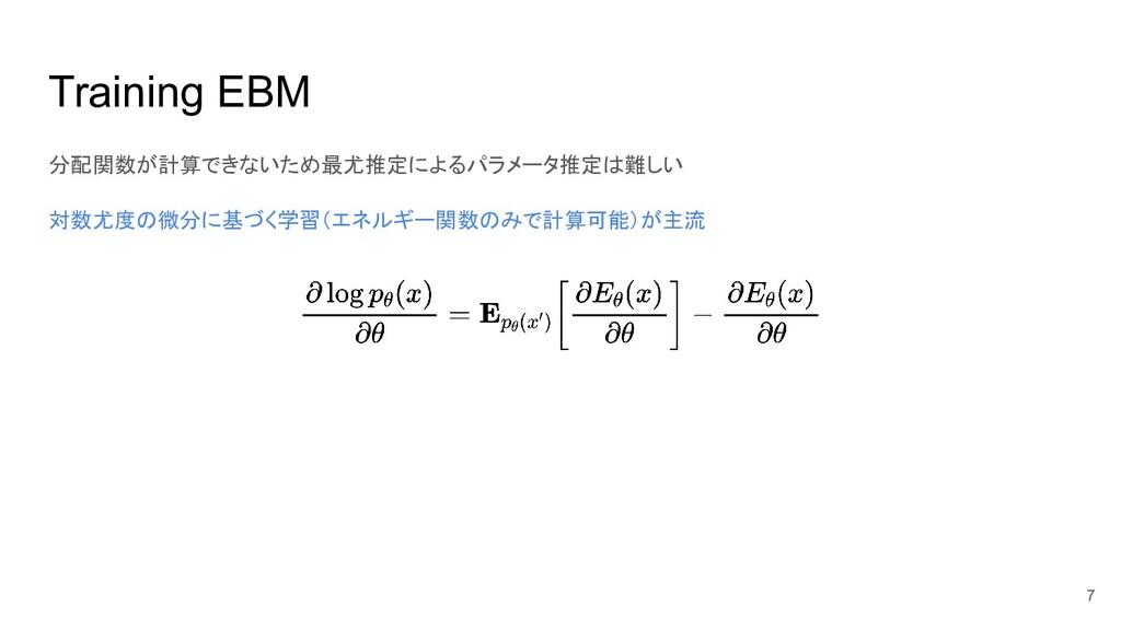 Training EBM 分配関数が計算できないため最尤推定によるパラメータ推定は難しい 対数...