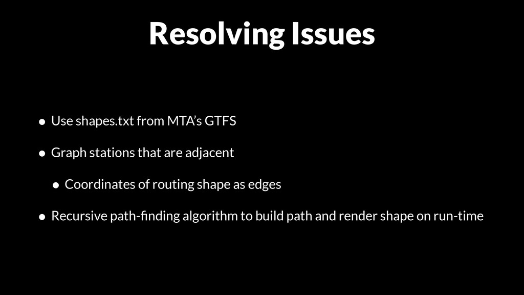 Resolving Issues • Use shapes.txt from MTA's GT...