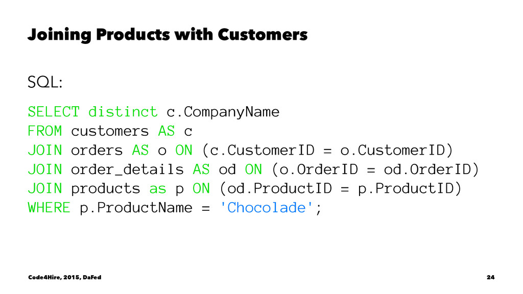 Joining Products with Customers SQL: SELECT dis...
