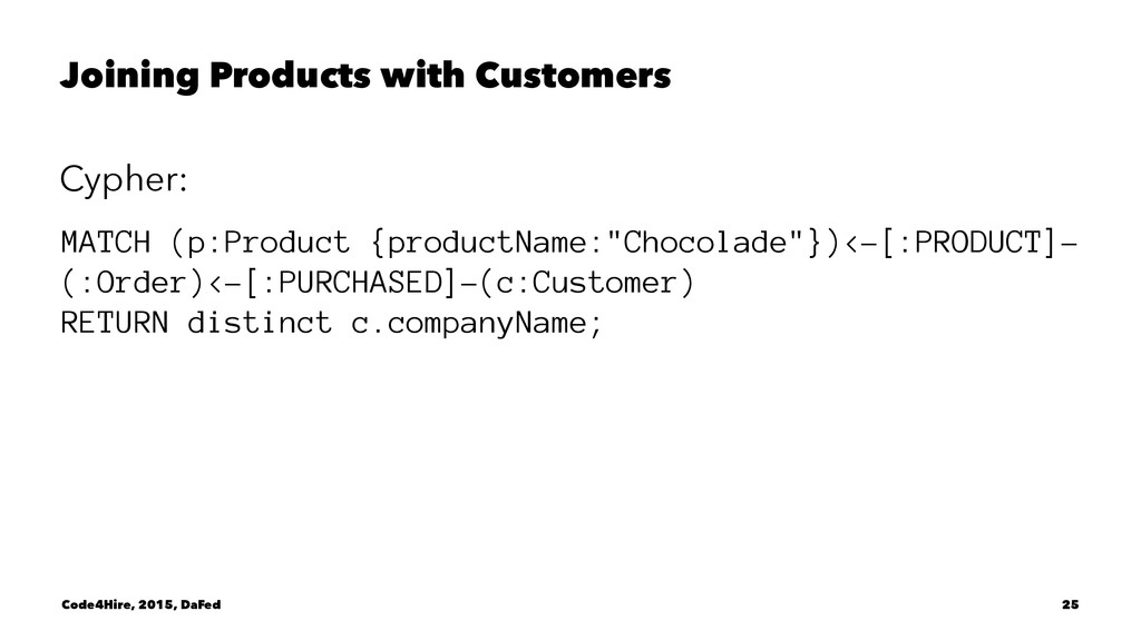 Joining Products with Customers Cypher: MATCH (...
