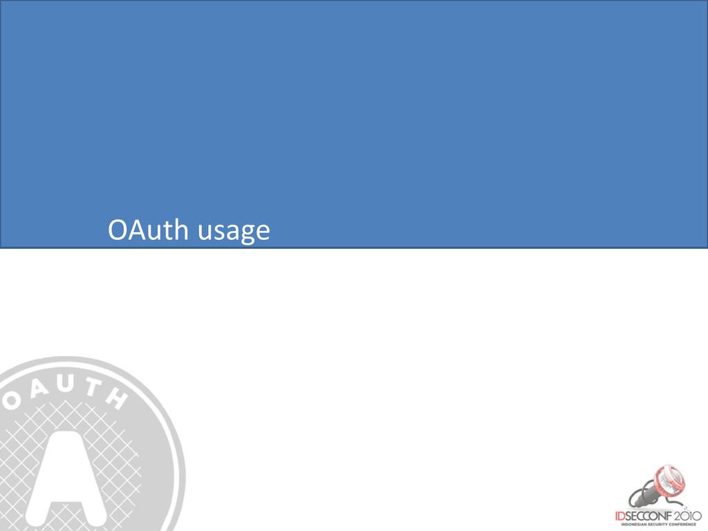 OAuth usage