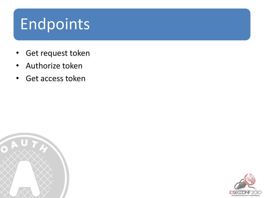 Endpoints • Get request token • Authorize token...