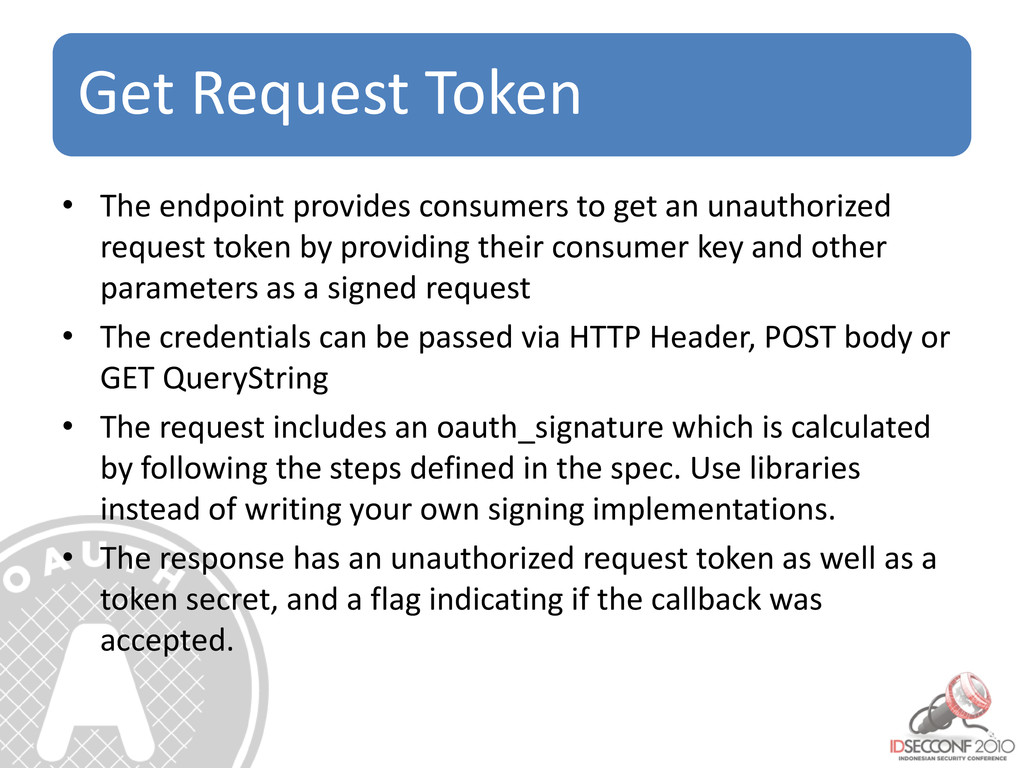 Get Request Token • The endpoint provides consu...
