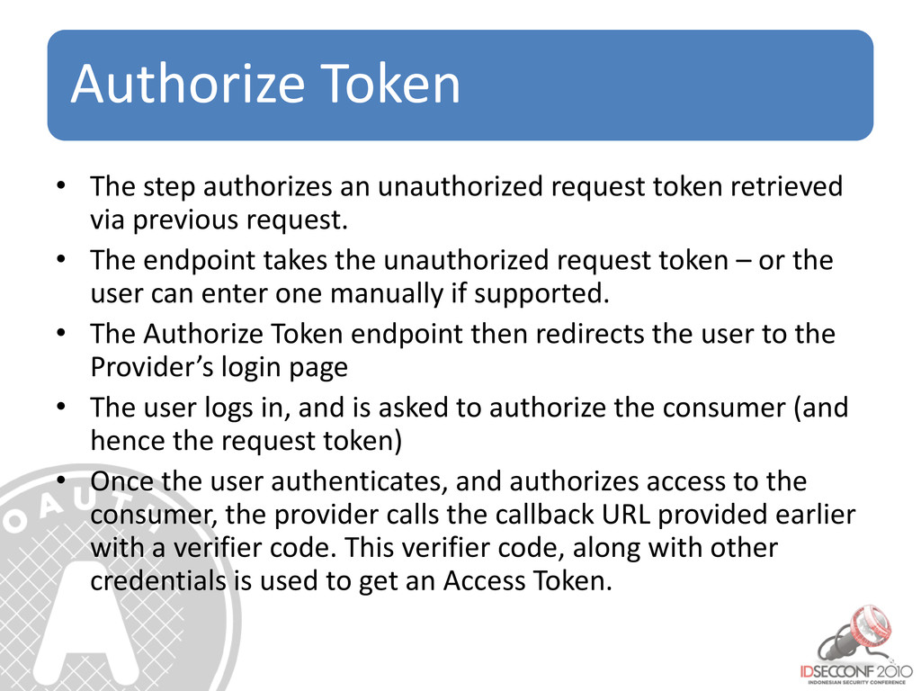 Authorize Token • The step authorizes an unauth...