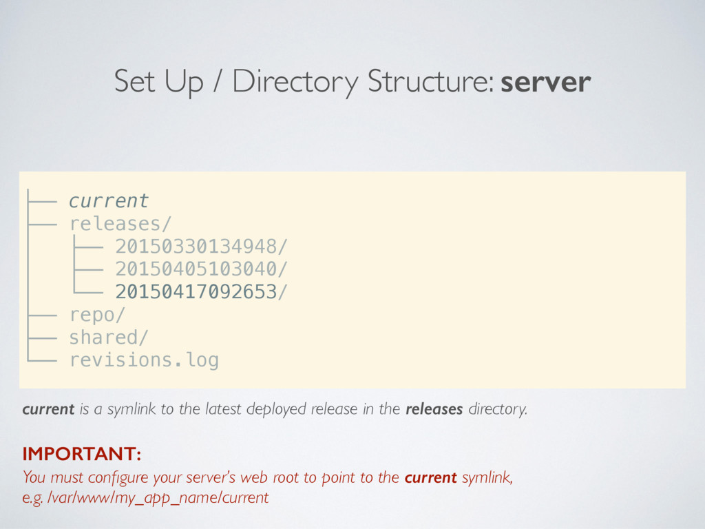 Set Up / Directory Structure: server current is...