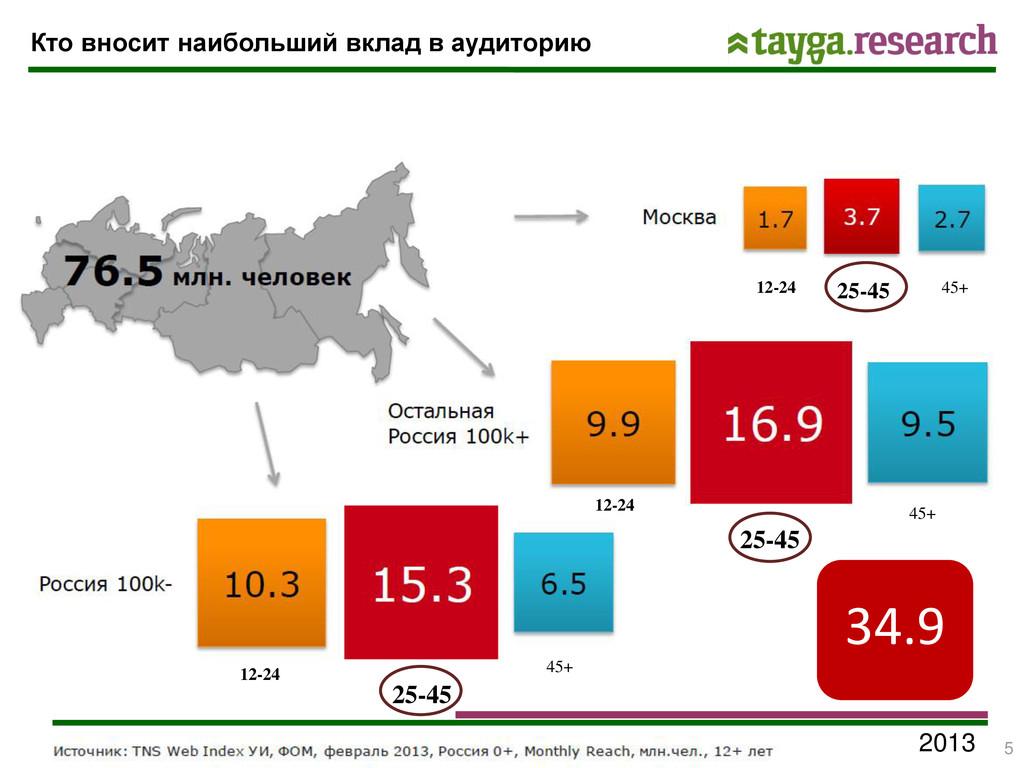 2013 Кто вносит наибольший вклад в аудиторию 12...