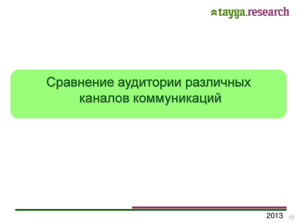 2013 Сравнение аудитории различных каналов комм...