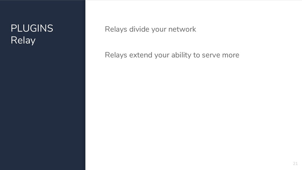 PLUGINS Relay Relays divide your network Relays...