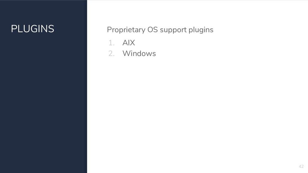 PLUGINS Proprietary OS support plugins 1. AIX 2...