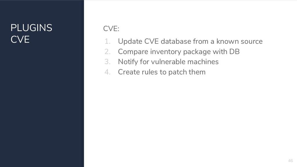PLUGINS CVE CVE: 1. Update CVE database from a ...