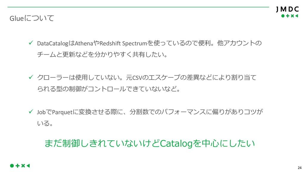 24 Glue ü DataCatalog Athena Redshift Spectrum ...