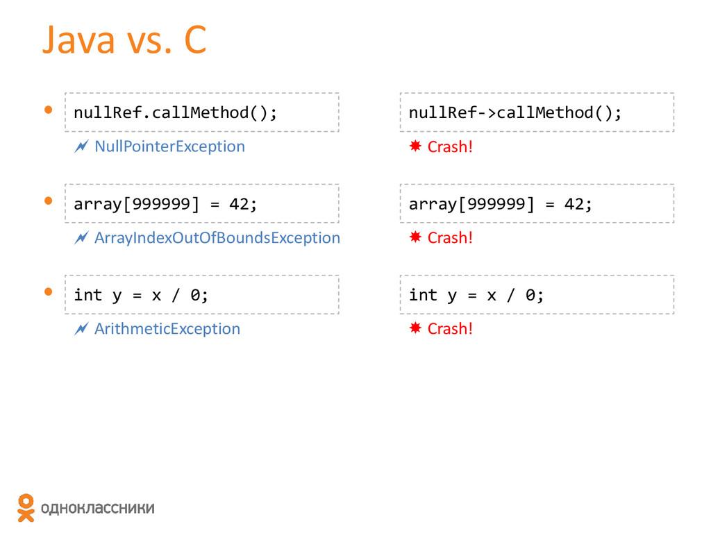 Java vs. C • • • nullRef.callMethod(); array[99...