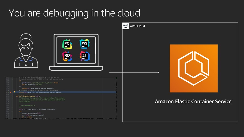 You are debugging in the cloud AWS Cloud