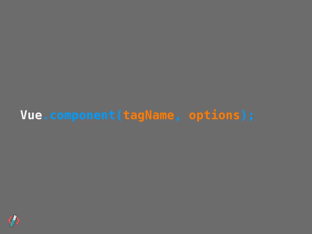 Vue.component(tagName, options);
