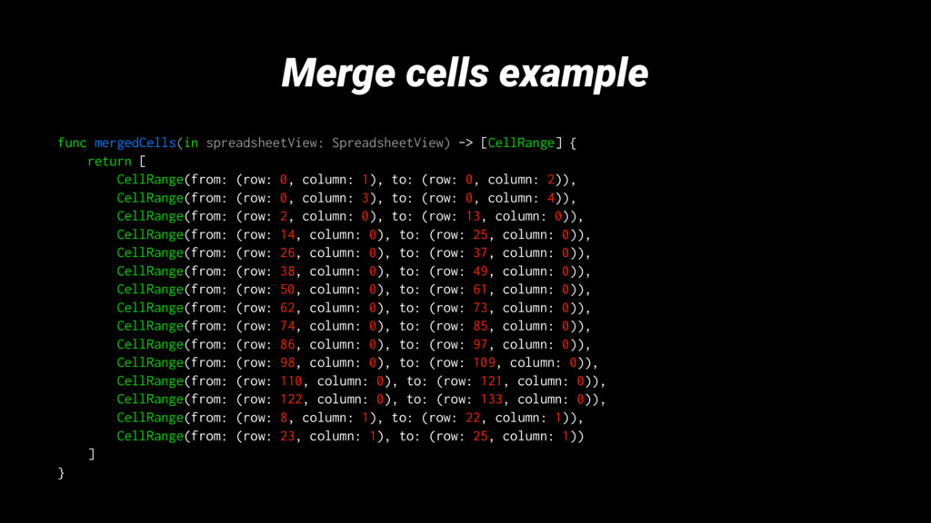 Merge cells example func mergedCells(in spreads...