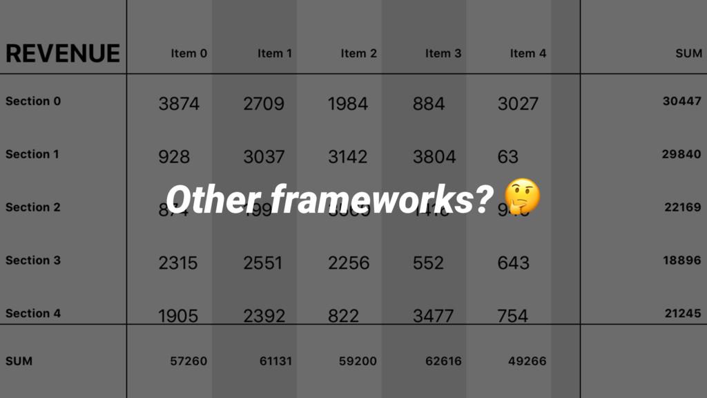 Other frameworks? !