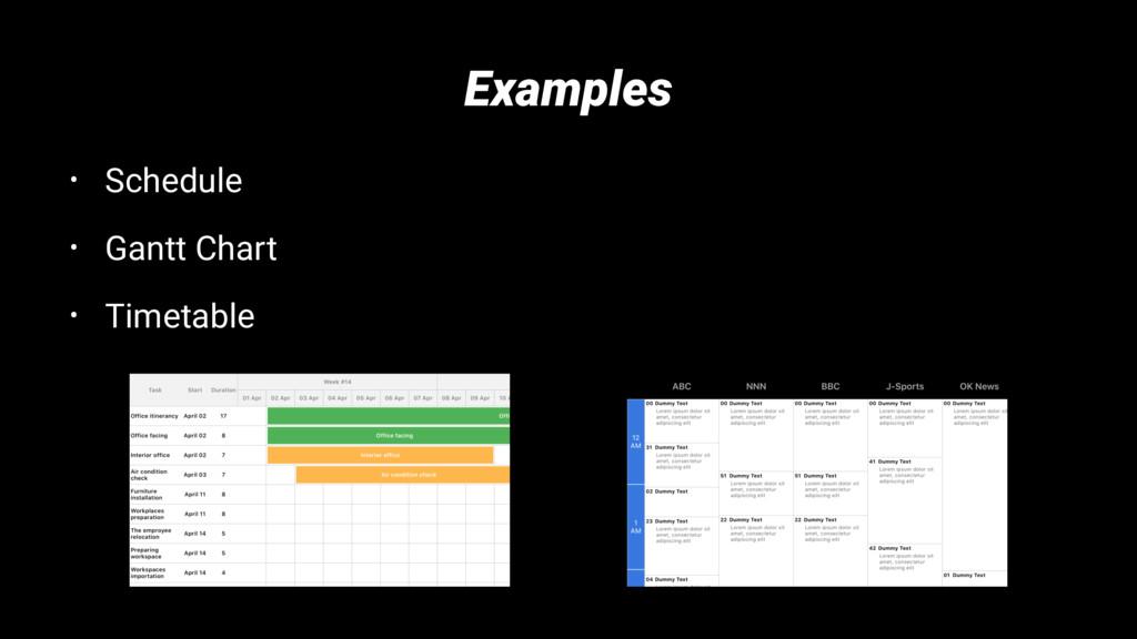Examples • Schedule • Gantt Chart • Timetable