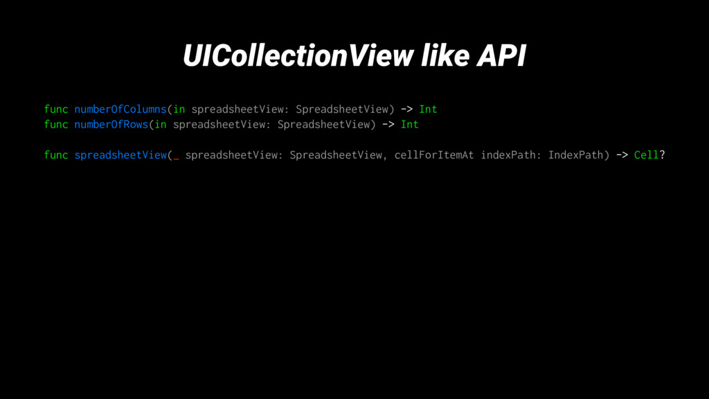 UICollectionView like API func numberOfColumns(...