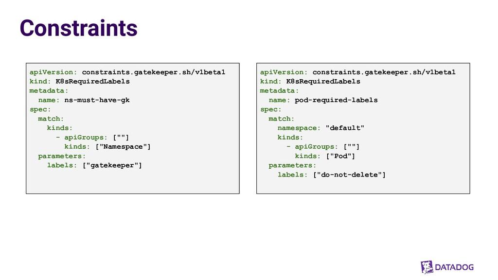 Constraints apiVersion: constraints.gatekeeper....